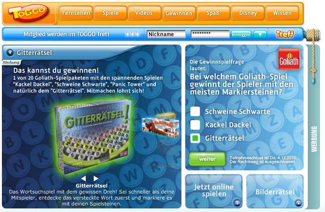 Gitterrätsel für toggo.de
