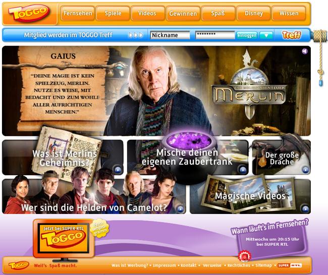 > Merlin Erlebniswelt auf toggo.de